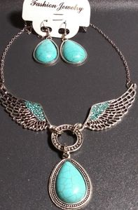 Turquoise Angel Wing Matching Neckless & Earring S